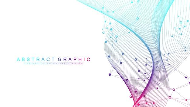 Grande hélice de dna de visualização de dados genômicos, fluxo de ondas