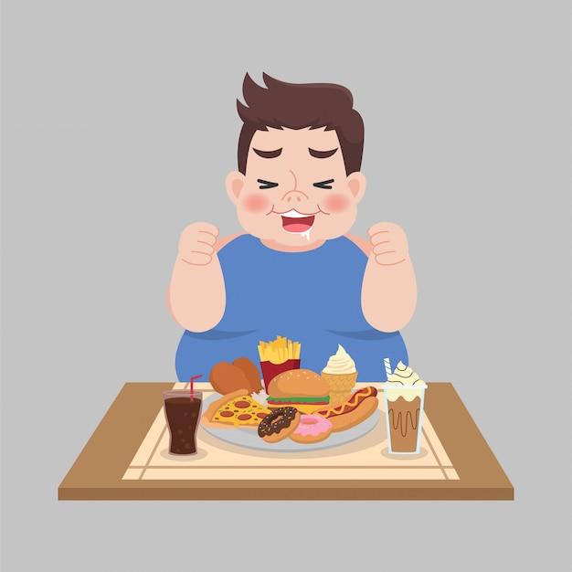 Grande homem feliz gordo gosta de comer fast-food