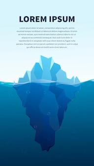 Grande iceberg no mar, ilustração do conceito, banner com modelo de texto