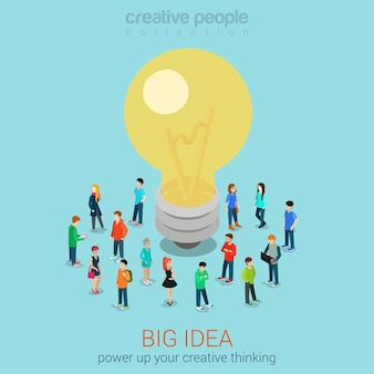 Grande ideia brainstorming web plana 3d