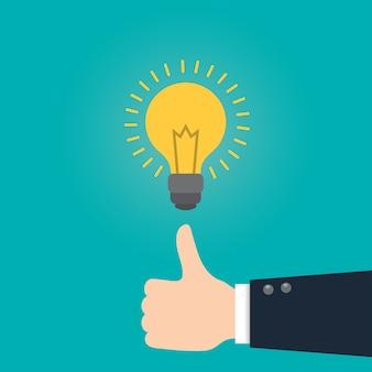 Grande ideia ideia conceito de negócio com lâmpada.