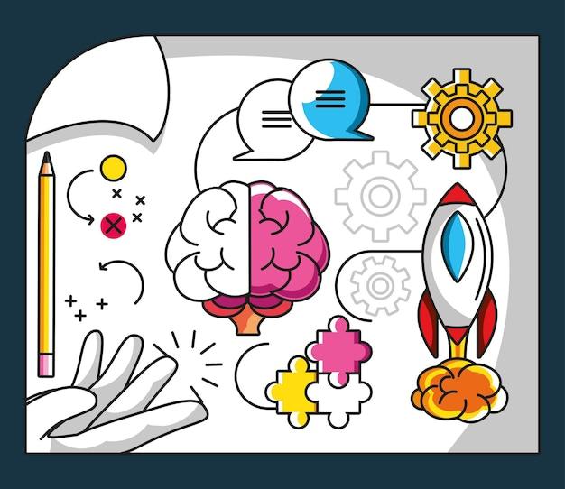 Grande ideia, inovação de criatividade do cérebro