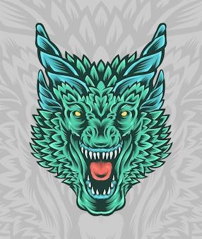 Grande ilustração de cabeça de dragão com chifres