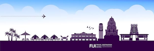 Grande ilustração de destino de viagem fiji.