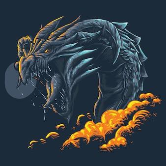 Grande ilustração de dragão