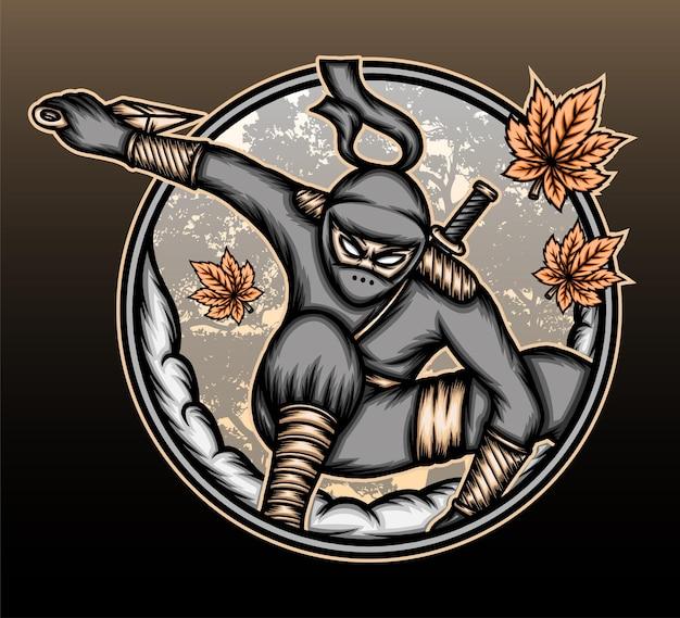 Grande ilustração de lutador ninja.