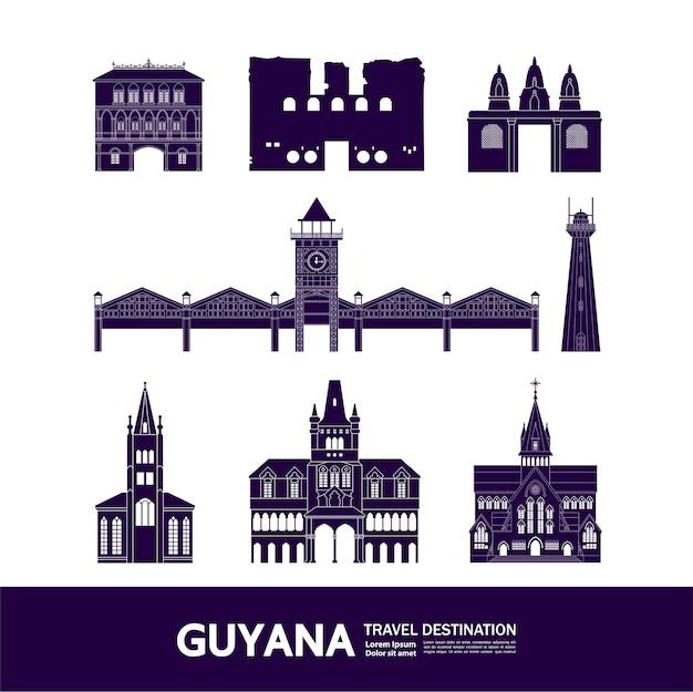Grande ilustração do destino da viagem da guiana.
