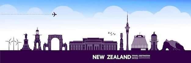 Grande ilustração do destino de viagens da nova zelândia.