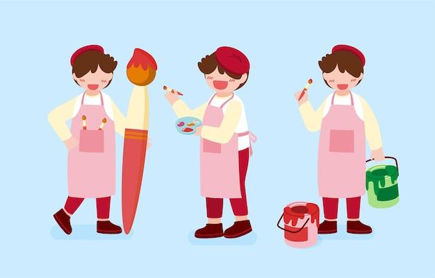 Grande ilustração isolada de personagem de desenho animado de crianças fofas, desenhando, desenhando, pintando e aprendendo