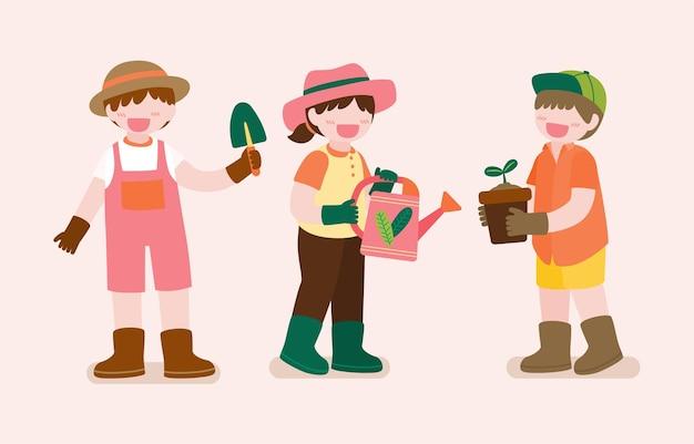 Grande ilustração isolada de personagem de desenho animado de lindos filhos jardinando no jardim ao lado de casa