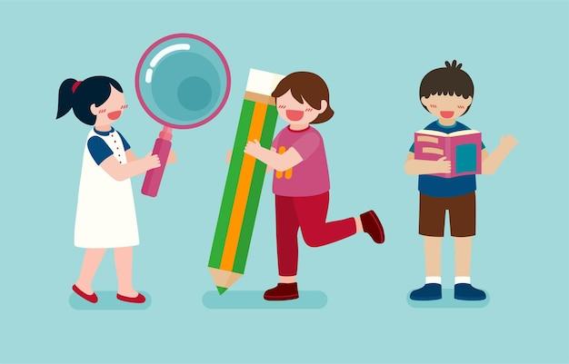 Grande ilustração isolada de personagem de desenho animado de lindos filhos lendo livro e aprendendo