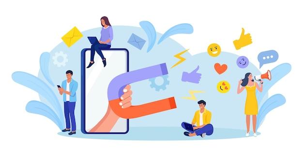 Grande ímã atrai curtidas, boas críticas, avaliações e seguidores. influenciador social. conteúdo de mídia para obter feedback do público. geração de leads. análise de satisfação e lealdade. atrair clientes