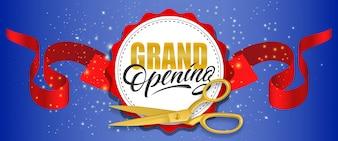 Grande inauguração banner cintilante azul com uma tesoura de ouro, fita vermelha