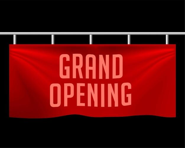 Grande inauguração com design realista de banner