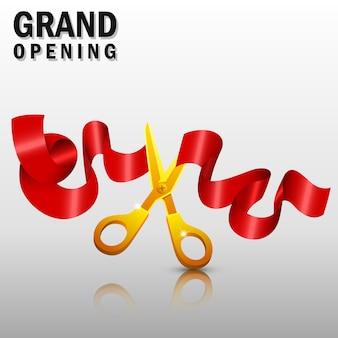 Grande inauguração com fita vermelha e tesoura de ouro