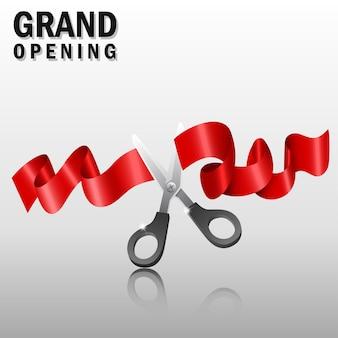 Grande inauguração com fita vermelha e tesoura