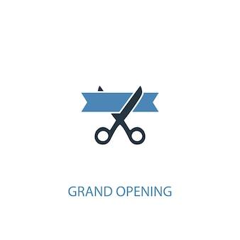 Grande inauguração conceito 2 ícone colorido. ilustração do elemento azul simples. grande inauguração conceito símbolo design. pode ser usado para ui / ux da web e móvel