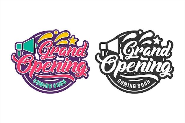 Grande inauguração em breve design conjunto de logotipos