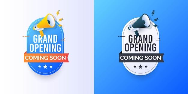 Grande inauguração em breve modelo de banner