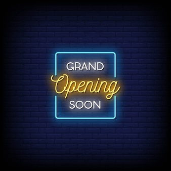 Grande inauguração em breve texto em estilo de letreiros de néon