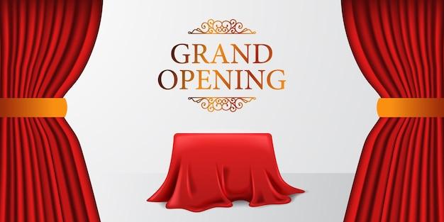 Grande inauguração real surpresa elegante com cortina de tecido de cetim e caixa de cobertura com fundo branco