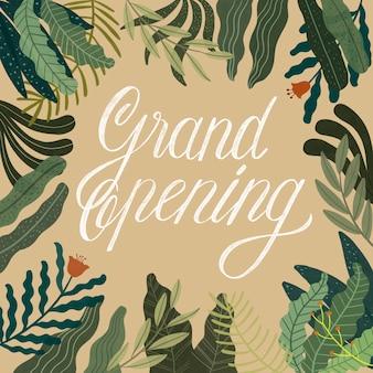 Grande inauguração tipográfica com decoração desenhada à mão