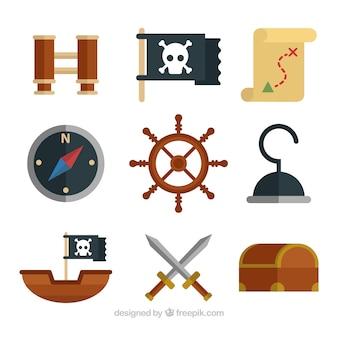 Grande, jogo, decorativo, pirata, objetos