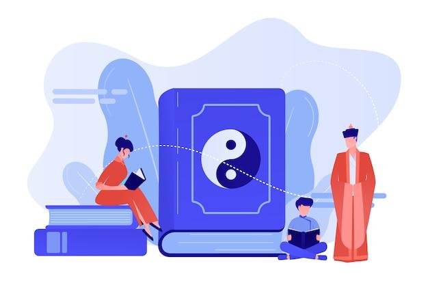 Grande livro com leitura familiar de yin-yang e taoísmo, pessoas minúsculas. yin yang taoísmo, taoísmo e confucionismo, conceito de filosofia chinesa do taoísmo. ilustração de vetor isolado de coral rosa