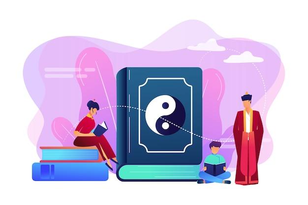 Grande livro com leitura familiar de yin-yang e taoísmo, pessoas minúsculas. yin yang taoísmo, taoísmo e confucionismo, conceito de filosofia chinesa do taoísmo.
