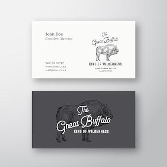 Grande logotipo abstrato moderno abstrato do búfalo e modelo de cartão de negócios.