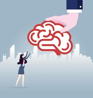 Grande mão dá idéia cérebro para mulher de negócios. vetor de conceito de negócio