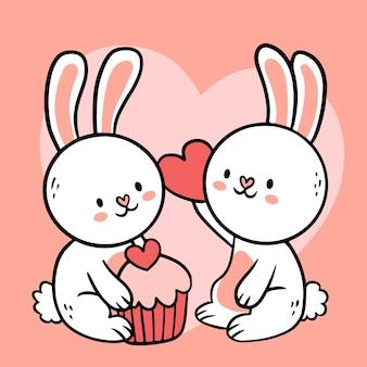 Grande mão isolada desenhada desenho de personagem de desenho animado casal de animais apaixonados, estilo doodle ilustração plana do conceito dos namorados