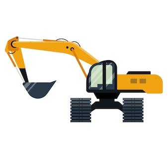Grande máquina escavadeira isolada