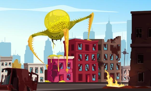 Grande monstro alienígena atacando a cidade com ilustração de desenho animado de casas caindo aos pedaços