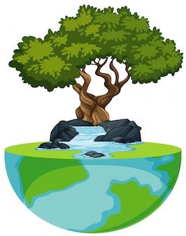 Grande mundo com cascata e grande árvore