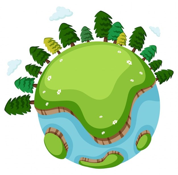 Grande mundo com muitas árvores e grama verde