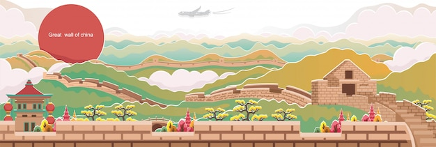 Grande muralha da china. paisagem do marco da china. panorama da arquitetura. paisagem de outono.