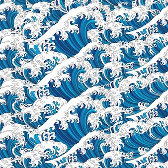 Grande onda de fundo e papel de parede sem costura japão oceano