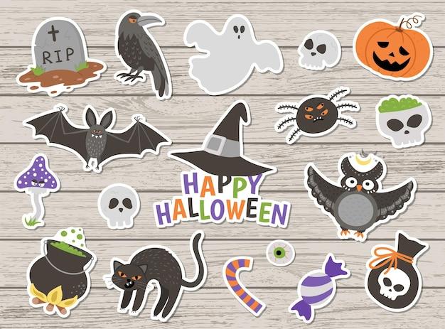 Grande pacote de adesivos de halloween de vetor em fundo de madeira. clipart de festa samhain tradicional. coleção assustadora com jack-o-lantern, aranha, fantasma, caveira, morcegos. conjunto de ícones de estilo simples de férias de outono