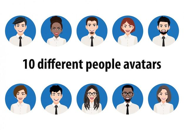 Grande pacote de avatares de pessoas diferentes. conjunto de retratos masculinos e femininos. personagens de avatar de homens e mulheres. foto de usuário, ícones de rosto para representar a pessoa em um videogame, fórum da internet, conta.