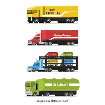 Grande pacote de caminhões em design plano