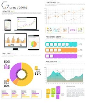 Grande pacote de elementos de diagrama, gráfico, gráfico e fluxo de trabalho
