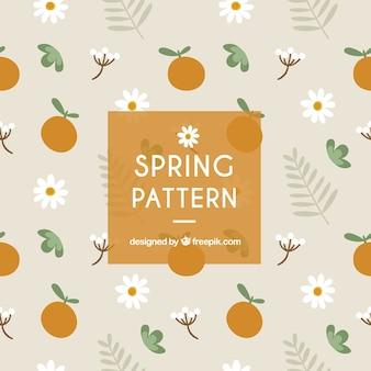 Grande padrão primavera com laranjas e margaridas Vetor Premium