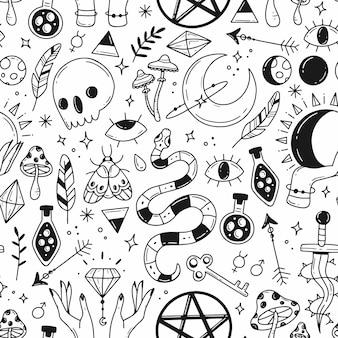 Grande padrão sem emenda com elementos de doodle de magia preto e branco sobre o tema da magia do esoterismo