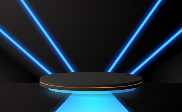 Grande palco de pedestal de pódio cilíndrico com decoração de néon azul brilhante com fundo escuro para exibição de tecnologia