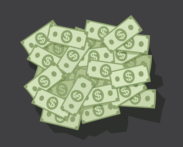 Grande pilha de dinheiro dólar em fundo escuro