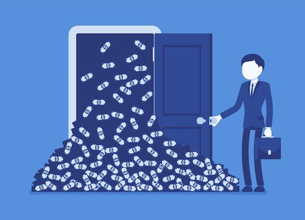 Grande pilha de dinheiro em avalanche de dinheiro e empresário