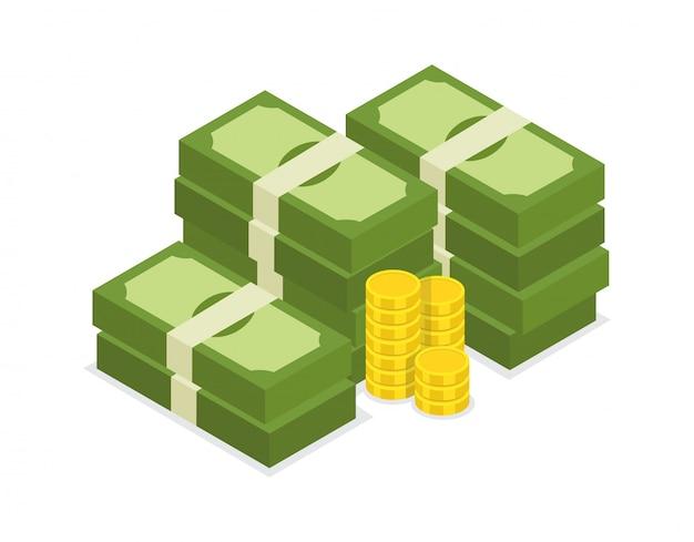 Grande pilha de dólar empilhado de dinheiro e moedas de ouro