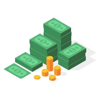Grande pilha de dólares empilhados de dinheiro e moedas de ouro.