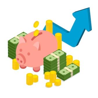 Grande pilha empilhada de dinheiro, moedas de ouro e cofrinho em estilo isométrico. aumento ou aumento do dólar.